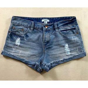 Forever 21 Destroyed Wash Denim Cutoff Shorts